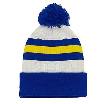 fan originals Retro Football Bobble Hat Leeds United Colours White Blue Yellow