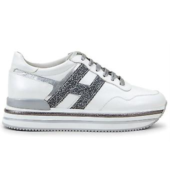 Sneaker Hogan Midi H222 Bianca E Grigia In Pelle