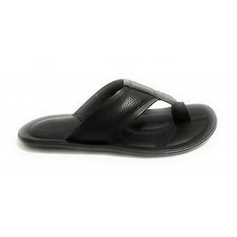Men's Shoes Elite Slipper Leather Flip Flops Black Color Us18el18