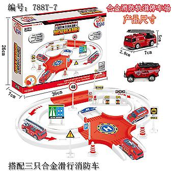 Children's fire truck track parking lot toy