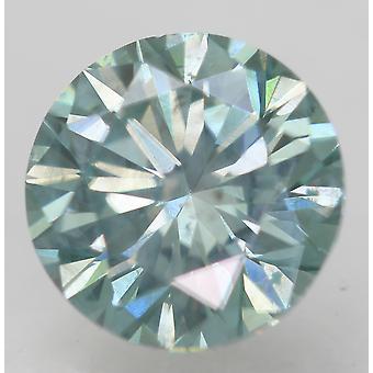 Cert 1.00 Ct Sky Green Blue VS2 Round Brilliant Enhanced Natural Diamond 6.19mm