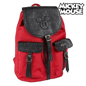 Casual backpack mickey mouse red black
