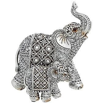 Silver Diamond Elephant Mum & Baby Ornament