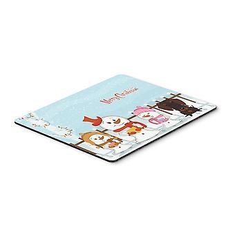 Caroline'S Schätze Frohe Weihnachten Draht Behaarte Schokolade Maus Pad, Multicolor, 7.75X9.25 (Bb2460Mp)