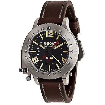 U-Båt 8095 U-42 Gmt Mens Automatisk Silver Titanium & Brunt Läder Rem Klocka