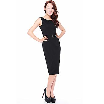 Chic Star Plus Size Ponte Belted Sleeveless Pencil Dress In Black