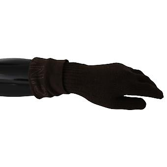 Costume National Brown Wool Knitted One Size Wrist Length Gloves