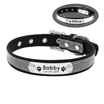 Cn airuidog collar perro personalizado reflectante cuero id nombre personalizado grabado cachorro