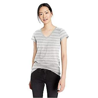 Brand - Daily Ritual Women's Lived-in Cotton Slub Short-Sleeve V-Neck T-Shirt, Grey Stripe,Large
