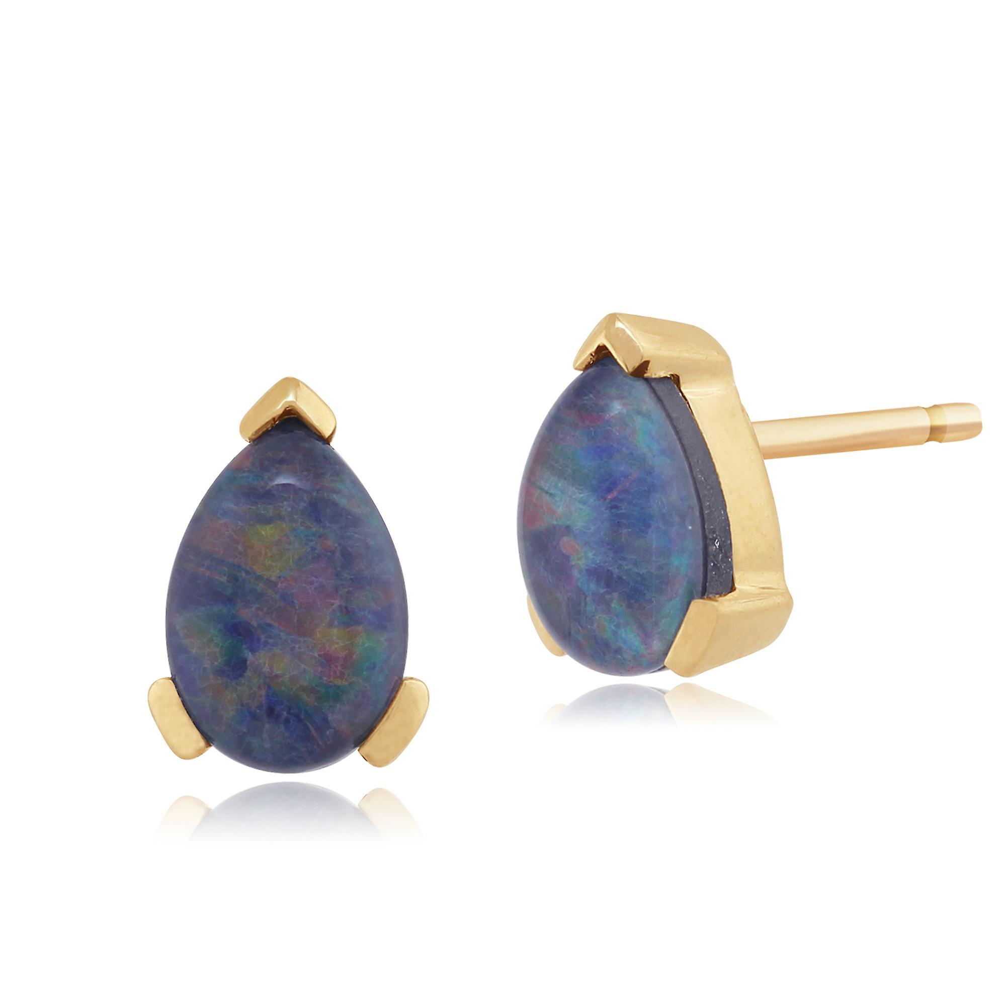 Gemondo 9ct Yellow Gold Triplet Opal Single Stone Pear Stud Earrings 6.5x4mm
