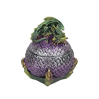 Hand Painted Green and Purple Sleeping Dragon On Egg Lidded Trinket Box