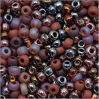 Czech Glass Seed Beads, 6/0 Round, 1 Ounce, Chocolate Mud Pie Brown Mix