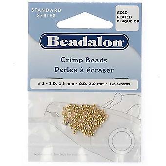 Beadalon Crimp Pärlor, 1.3mm, 85 Lappar, Guld- pläterat