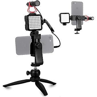 FengChun Smartphone Video-Mikrofon Vlogger Kit mit LED-Beleuchtung, Telefonhalterung, Stativhalterung