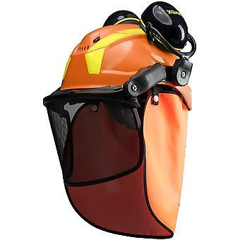 Pheos Forstschutzhelm - mit Gehörschutz, Visier & Nackenschutz - Orange