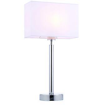 bord lampe forkrommet plate, vintage hvitt stoff rektangulær nyanse med usb-kontakt