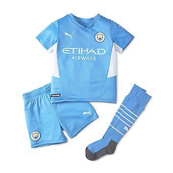 Puma Manchester City 2021/22 Junior Kids Mini Home Football Kit Blue