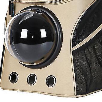 outdoor portable large pet space backpack,double shoulder pet breathable bag(Khaki)