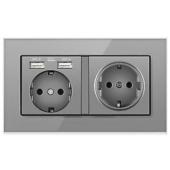 Eu Crystal Glass Panel Socket 16a 2 Gang Wall Power Outlet With 2 Usb Charging