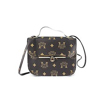 Letters Oxford Top Handle Bag With Linear Lock Color: Brown  Size: Small   Material: Pu