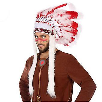 Indian Headdress White Red