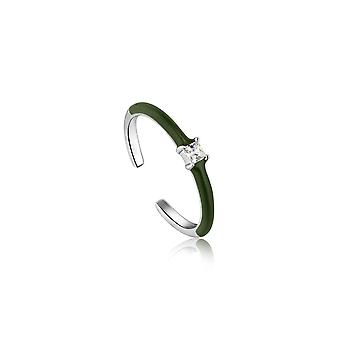 Ania Haie Forest Green Enamel Silver Adjustable Ring R031-02H-G