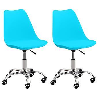 vidaXL مكتب الكراسي 2 PCS. الأزرق الاصطناعية الجلود