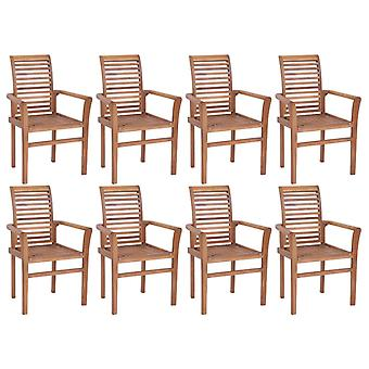 vidaXL Dining Chairs 8 Pcs. Stackable Teak Solid Wood