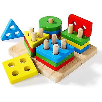 Wooden Educational Toys,preschool Stacking Blocks Toddler Puzzles
