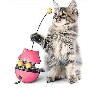 Dual Rolling Balls Cat Tumbler Lelu Kissa Ruoka-annostelija Vuotaa ruokapallo (punainen)