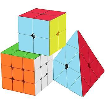 Zauberwürfel Set, Professional Speed Cube Set mit 2x2 3x3 Pyramide Zauberwürfel, Einfaches Drehen