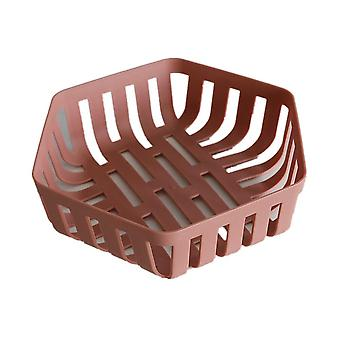 2Pcs Plastic Hollow Fruit Basket Drain Household Snacks Fruit Storage Basket Kitchen Sink Vegetable