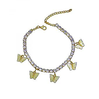 Ladies Fashion Butterfly Acrylic Rhinestone Anklet Pendant Jewelry Foot Ornament