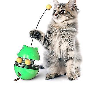 Dual Rolling Balls Cat Tumbler Toy Cat Food Dispenser Leaking food ball(Green)