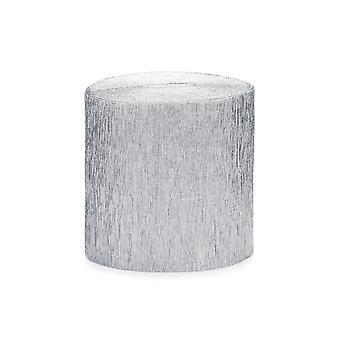 SISTA FÅ - 4 x 10m Metalliskt Silver Crepe Paper Streamer Rolls - Party Decorations