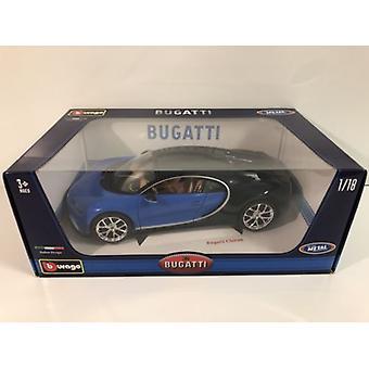 Bugatti Chiron Blue and Black 1:18 Scale Burago 11040