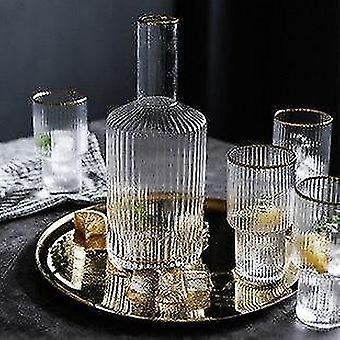 Noordse stijl verticale gestreepte waterdecanter set met 4 drinkglazen
