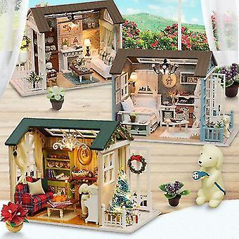 Neujahr Weihnachtsgeschenke Puppenhaus DIY Miniatur Puppenhaus Spielzeug Möbel casadolls Häuser Spielzeug für