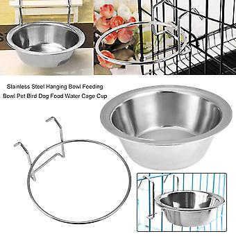 Stainless Steel Hanging Bowl Feeding Bowl Pet Bird Dog Food Water Cage Cup
