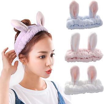 3pcs Ladies Hair Makeup Headband Cute Headband Headband Bunny Ears Yoga/sports/makeup Headband (blue, Light Pink And White)