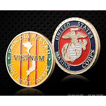Carte du Vietnam Pièces commémoratives colorées Collection Pièces de pirate Pièces plaquées or Médaille de la Marine Médaille Pièces