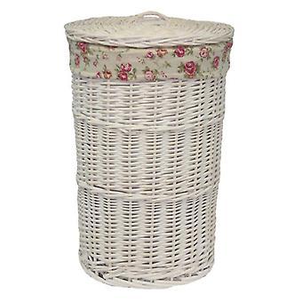 Pequeno redondo cesta de lavanderia lavagem branco com uma rosa do jardim do forro