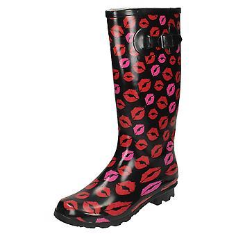 Womens Spot On Printed Lips Wellington Boots