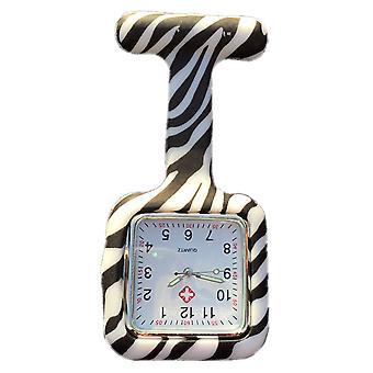 Boolavard® TM sykepleiere mote farget mønstret silikon gummi Fob klokker - kvadrat Zebra