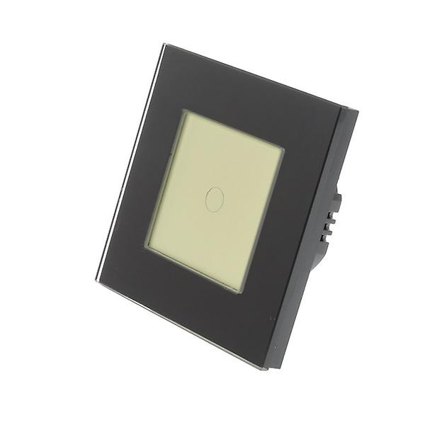 I LumoS Black Glass Frame 1 Gang 1 Way Remote & Dimmer Touch LED Light Switch Gold Insert