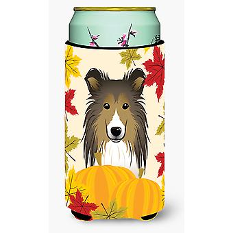 Sheltie Thanksgiving Tall Boy drank isolator Hugger