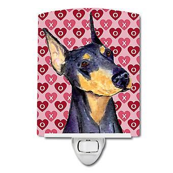 Doberman Hearts Love and Valentine's Day Portrait Ceramic Night Light
