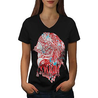 Robot Warrior Fantasy Women BlackV-Neck T-shirt | Wellcoda
