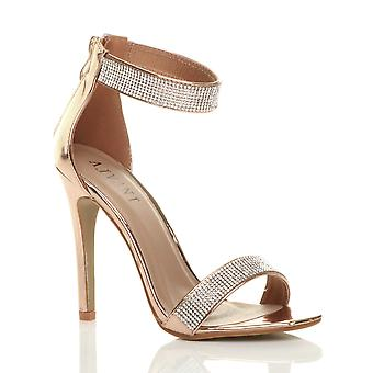 Ajvani womens high heel strappy diamante barely there sandals evening shoes