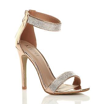 Ajvani Damen high Heel Riemchen Diamante kaum dort Sandalen Schuhe Abend